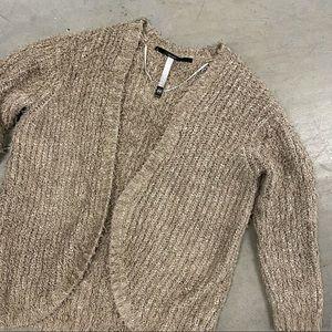 Kensie Tan Boucle Teddy Knit Open Cardigan Sweater